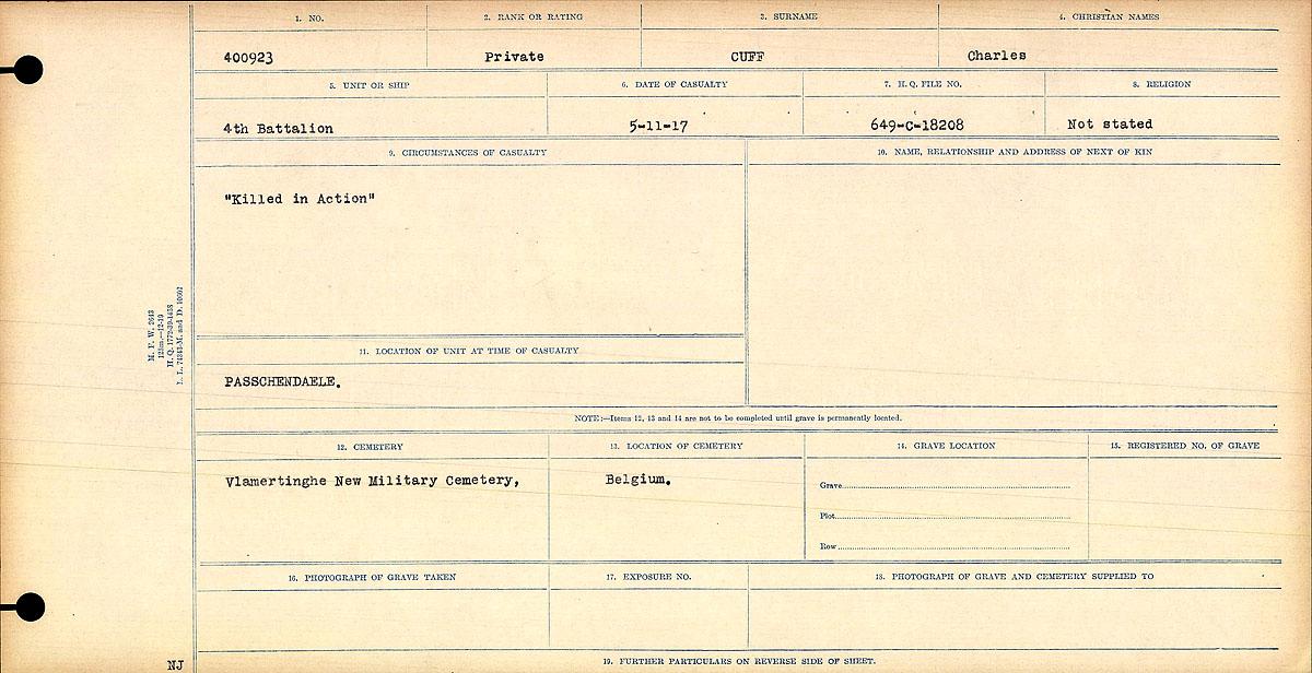 Registres de circonstances du décès