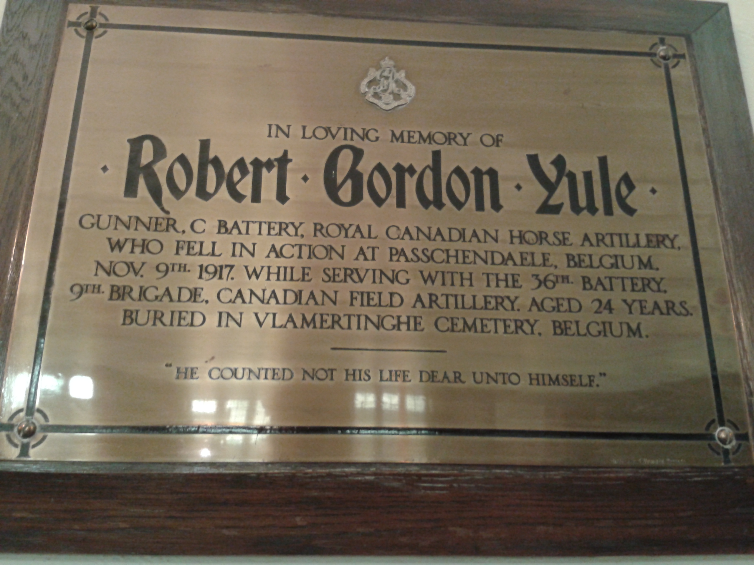 Memorial Plaque– Individual plaque found in the Sanctuary of St. John's Presbyterian Church, 415 Broadview Avenue, Toronto, Ontario, Canada.  Photo taken by Brian MacInnes (a member of the congregation).