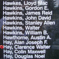 Memorial– Pilot Officer Clarence Walter Hay is also commemorated on the Bomber Command Memorial Wall in Nanton, AB … photo courtesy of Marg Liessens