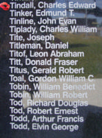 Memorial– Flying Officer Charles Edward Tindall is commemorated on the Bomber Command Memorial Wall in Nanton, AB … photo courtesy of Marg Liessens