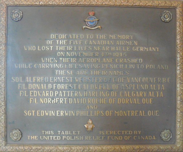 Memorial Plaque– Memorial plaque crew lost fall 1945 mercy flight to Poland