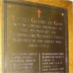 Commemorative Plaque– WWI Memorial Plaque located in the Metropolitan United Church, 56 Queen St. East, Toronto, Ontario.  The current building was dedicated in 1872 as the Metropolitan Wesleyan Methodist Church.