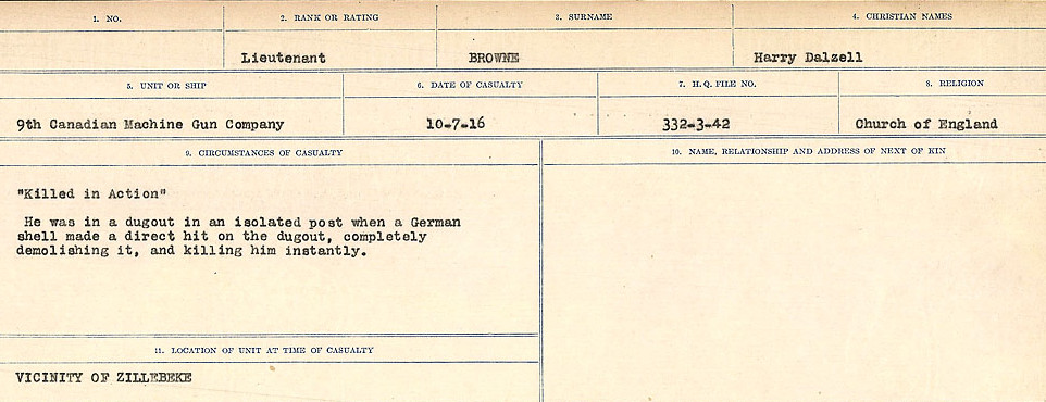 Circumstances of Death– Source: Library and Archives Canada.  CIRCUMSTANCES OF DEATH REGISTERS FIRST WORLD WAR Surnames: Broad to Broyak. Mircoform Sequence 14; Volume Number 31829_B016723; Reference RG150, 1992-93/314, 158 Page 1063 of 1128
