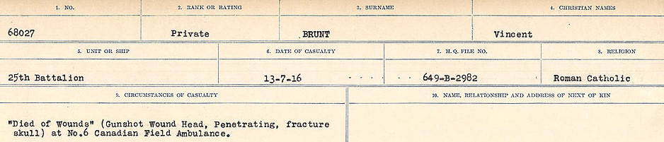Circumstances of Death– Source: Library and Archives Canada.  CIRCUMSTANCES OF DEATH REGISTERS FIRST WORLD WAR Surnames: Brubacher to Bunyan. Mircoform Sequence 15; Volume Number 31829_B016724; Reference RG150, 1992-93/314, 159 Page 87 of 668
