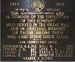 War Memorial– The Toronto Hamilton & Buffalo Railway Company War Memorial Plaque is  located in the former TH&B Building, Hunter Street, Hamilton, Ontario.    This company was in business from 1892 to 1987 with headquarters in  Hamilton.