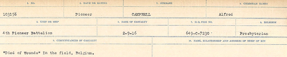 Circumstances of Death Registers– Source: Library and Archives Canada.  CIRCUMSTANCES OF DEATH REGISTERS, FIRST WORLD WAR Surnames:  Cabana to Campling. Microform Sequence 17; Volume Number 31829_B016726. Reference RG150, 1992-93/314, 161.  Page 543 of 1024.