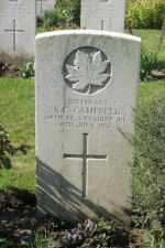 Grave Marker– Lt. Kenneth C. Campbell, 60th Canadian Batt. Renninghelst, Belgium.  Taken September, 2010