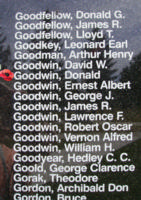 Memorial– Sergeant Donald Goodwin is also commemorated on the Bomber Command Memorial Wall in Nanton, AB … photo courtesy of Marg Liessens