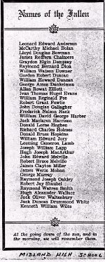 Newspaper Clipping– Clipping from Midland High School year book listing those killed in the war.