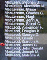 Memorial– Flying Officer James George MacLeod is also commemorated on the Bomber Command Memorial Wall in Nanton, AB … photo courtesy of Marg Liessens