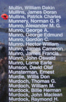 Memorial– Sergeant Patrick Charles Henry Mullins is also commemorated on the Bomber Command Memorial Wall in Nanton, AB … photo courtesy of Marg Liessens