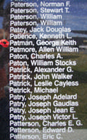 Memorial– Pilot Officer George Keith Patman is commemorated on the Bomber Command Memorial Wall in Nanton, AB … photo courtesy of Marg Liessens