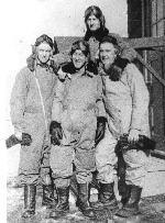 Photo of Harold Stanley Seabrook– Harold Seabrook (Top Rear) pictured with Frank Pess (Front Far Right) at training school in Canada. Seabrook was killed in a flying accident in the UK in Halifax BB310, with 1674 HCU.RAF Longtown, Cumbria.