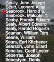 Memorial– Flight Sergeant Harold Stanley Seabrook is commemorated on the Bomber Command Memorial Wall in Nanton, AB … photo courtesy of Marg Liessens