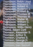 Memorial– Flight Sergeant William Colin Thompson is commemorated on the Bomber Command Memorial Wall in Nanton, AB … photo courtesy of Marg Liessens
