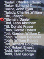 Memorial– Flying Officer Daniel Titleman is commemorated on the Bomber Command Memorial Wall in Nanton, AB … photo courtesy of Marg Liessens