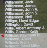 Memorial– Flying Officer Raymond Phillip Willison is also commemorated on the Bomber Command Memorial Wall in Nanton, AB … photo courtesy of Marg Liessens