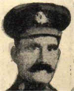 """Newspaper Clipping– From """"Our Heroes in The Great World War"""", compiled by J. H. De Wolfe, Patriotic Publishing Co., Ottawa, Ontario, 1919.  This book includes hundreds of photographs of soldiers, however, there were often discrepancies in editing between the details published, and the official record. The attestation papers confirm this soldier's identity.  His name was accidentally entered in the book as Harry Mead."""