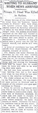 Newspaper Clipping– This article on Private Harry Head is from the Sept. 20, 1916 Ottawa Citizen.