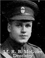 Photo of Robert McGuire– From: The Varsity Magazine Supplement published by The Students Administrative Council, University of Toronto 1916.   Submitted for the Soldiers' Tower Committee, University of Toronto, by Operation Picture Me.
