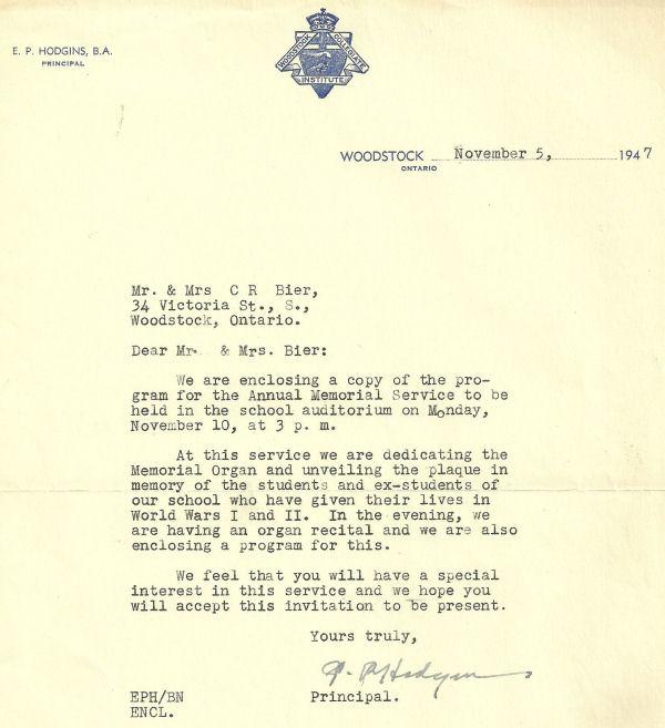Letter (November 5, 1947)