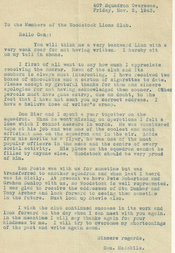 Letter (November 5, 1943)