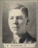 Photo of Howard Primrose– From The War Book of Upper Canada College, edited by Archibald Hope Young, Toronto, 1923.  This book is a Roll of Honour including former students who served during the First World War.