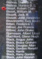 Memorial– Squadron Leader Robert Clare Bisset is also commemorated on the Bomber Command Memorial Wall in Nanton, AB … photo courtesy of Marg Liessens