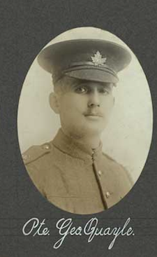 Photo of GEORGE QUAYLE– In memory of the employees of the T. Eaton Company that went to war and did not come home.  Submitted for the project, Operation: Picture Me