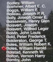 Memorial– Pilot Officer William Harold Boles is also commemorated on the Bomber Command Memorial Wall in Nanton, AB … photo courtesy of Marg Liessens