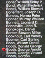 Memorial– Flight Sergeant George Arnold Booth is also commemorated on the Bomber Command Memorial Wall in Nanton, AB … photo courtesy of Marg Liessens