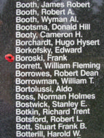 Memorial– Sergeant Frank Boroski is also commemorated on the Bomber Command Memorial Wall in Nanton, AB … photo courtesy of Marg Liessens