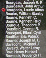 Memorial– Flight Lieutenant Laurie Alban Bourgeois is also commemorated on the Bomber Command Memorial Wall in Nanton, AB … photo courtesy of Marg Liessens