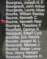 Memorial– Pilot Officer Kenneth Reid Bourne is also commemorated on the Bomber Command Memorial Wall in Nanton, AB … photo courtesy of Marg Liessens