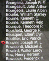 Memorial– Pilot Officer Joseph Maurice Leopold Bouvier is also commemorated on the Bomber Command Memorial Wall in Nanton, AB … photo courtesy of Marg Liessens