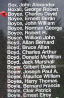 Memorial– Pilot Officer Charles David Boyce is also commemorated on the Bomber Command Memorial Wall in Nanton, AB … photo courtesy of Marg Liessens