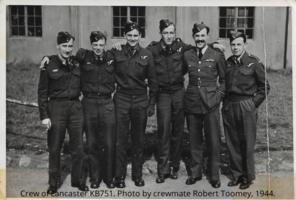 Group Photo– Crew of Lancaster KB751 who perished August 17, 1944. Photo by Sgt Robert E. Toomey, Flight Engineer who was only survivor and taken prisoner on the Danish island Sejero.