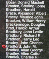 Memorial– Warrant Officer Class II John McKinnon Bradford is also commemorated on the Bomber Command Memorial Wall in Nanton, AB … photo courtesy of Marg Liessens