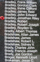 Memorial– Pilot Officer Jonathan Riley Bradley is also commemorated on the Bomber Command Memorial Wall in Nanton, AB … photo courtesy of Marg Liessens