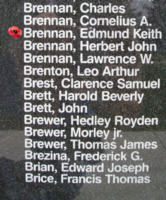 Memorial– Sergeant Edmund Keith Brennan is also commemorated on the Bomber Command Memorial Wall in Nanton, AB … photo courtesy of Marg Liessens