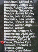 Memorial– Sergeant Charles Cyril Brook is also commemorated on the Bomber Command Memorial Wall in Nanton, AB … photo courtesy of Marg Liessens