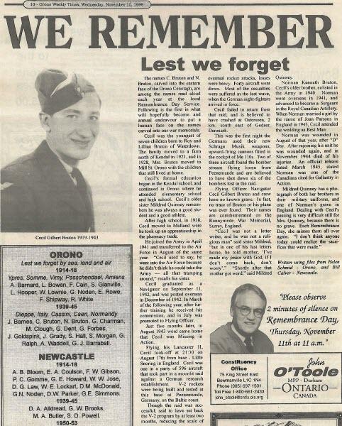 Newspaper clipping– Orono Times Article, 1999, describing Cecil Bruton.