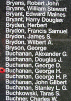 Memorial– Flying Officer George Harry Buchanan is also commemorated on the Bomber Command Memorial Wall in Nanton, AB … photo courtesy of Marg Liessens