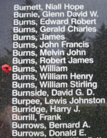 Memorial– Flight Sergeant William Burns is also commemorated on the Bomber Command Memorial Wall in Nanton, AB … photo courtesy of Marg Liessens