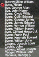 Memorial– Warrant Officer Class II Nolan Butts is also commemorated on the Bomber Command Memorial Wall in Nanton, AB … photo courtesy of Marg Liessens
