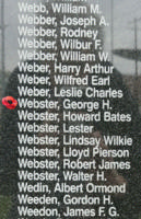 Memorial– Pilot Officer George Hamilton Webster is also commemorated on the Bomber Command Memorial Wall in Nanton, AB … photo courtesy of Marg Liessens