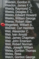 Memorial– Flight Sergeant William Alexander Wegenast is also commemorated on the Bomber Command Memorial Wall in Nanton, AB … photo courtesy of Marg Liessens
