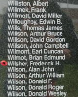 Memorial– Flying Officer Frederick Harold Wilsher is also commemorated on the Bomber Command Memorial Wall in Nanton, AB … photo courtesy of Marg Liessens