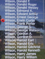 Memorial– Pilot Officer Ervin Curtis Wilson as commemorated on the Bomber Command Memorial Wall in Nanton, AB … photo courtesy of Marg Liessens