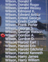 Memorial– Pilot Officer Gordon Alexander Wilson is also commemorated on the Bomber Command Memorial Wall in Nanton, AB … photo courtesy of Marg Liessens
